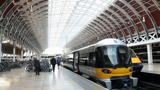 The newly modernised Heathrow Express train waits at Paddington Station before its journey to Heathrow Terminal 5.