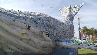 Giant plastic whale shows problem of ocean pollution