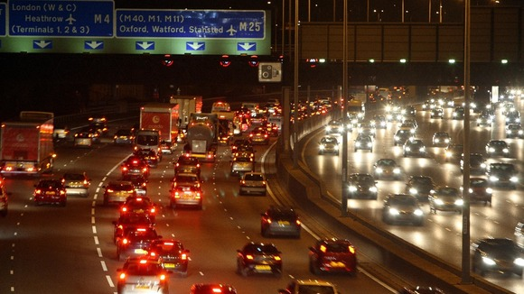 Britain's busiest motorway during rush hour as the London orbital road is 25 years old on Saturday.