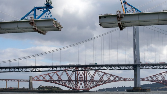 The new crossing seen with the old Forth bridges in the background.