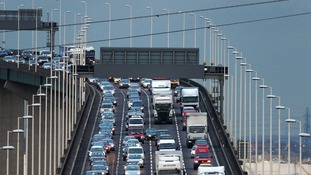 Traffic crossing the Queen Elizabeth II Bridge at Dartford as the Christmas get away gets going