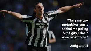 Andy Carroll from Gateshead says a motorbike pulled up next to his car at the traffic lights and demanded he hand over his watch.