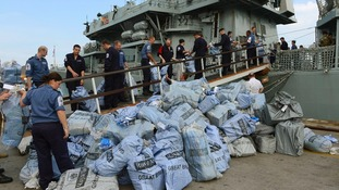 Mail bags being loaded on board