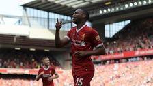 Daniel Sturridge celebrates scoring his side's fourth goal of the game during the Premier League match at Anfield, Liverpool.