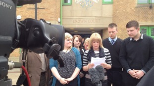 Kevin Harrison's widow speaks outside court