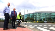Chris Hughes, Capita Traffic Engineering Team Leader, Cllr John Harrison and Lynn Cramman, Business Development Manager at Cobalt Park.