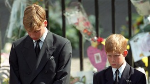 Princes William and Harry at their mother's funeral.