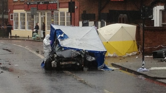 Crash scene on Streatham High Road