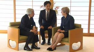 Theresa May meets Japanese emperor on final day of visit