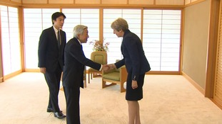 Mrs May and Emperor Akihito spoke at the Imperial Palace.
