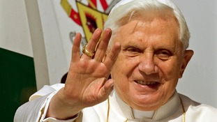 Pope Benedict XVI pictured waving