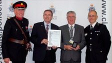 from left: Deputy Lieutenant David Kerfoot MBE, PCC Barry Coppinger, Karel Simpson and Chief Constable Iain Spittal