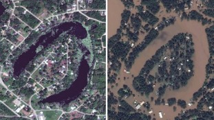 Satellite images reveal scale of devastation left in storm Harvey's wake.