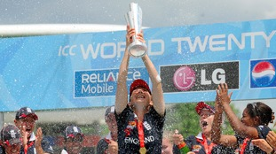 Charlotte Edwards lifts the World Cup in 2009.