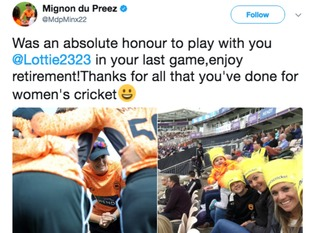 South Africa's Mignon du Preez was among those to congratulate Edwards on her achievements.