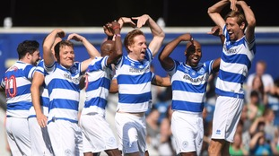Team Ferdinand celebrate a goal from Sir Mo Farah.