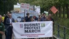 Around 250 protesters turned up for the march.