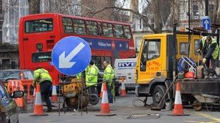 Roadworks take place in London.