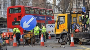 Roadworks take place in London.