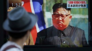 News of North Korea's suspected nuclear test was broadcast in Japan.