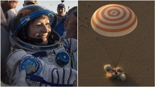 Record-breaking astronaut Peggy Whitson and fellow ISS crew members return to Earth