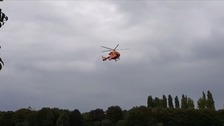 The air ambulance flew the child to hospital.