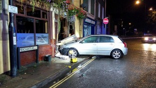 Bristol pub in danger of collapsing after car crashes into it