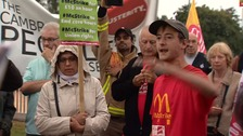 Unions gathered outside the Cambridge McDonalds
