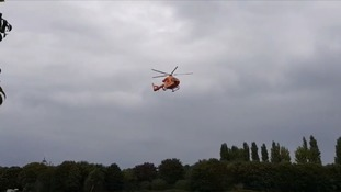 The child was taken to hospital by the air ambulance