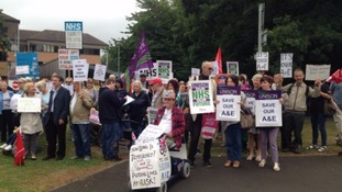 Protestors against the closure gathered outside the hospital earlier this year.