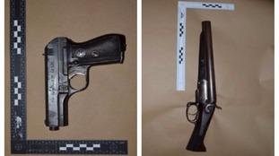 These two guns were found hidden inside Nathan Rochester's mattress