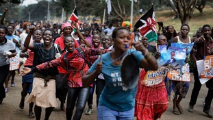 Supporters of opposition leader Raila Odinga celebrate the Supreme Court ruling.
