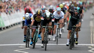 Elia Viviani takes stage two of the Tour of Britain after Boasson Hagen is stripped of his win