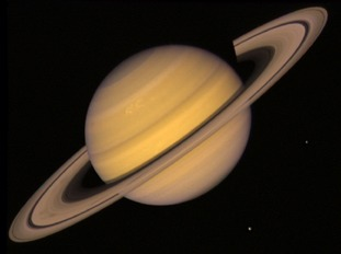 An image of Saturn taken by Voyager 2.