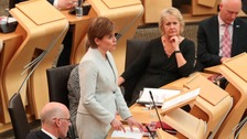 First Minister Nicola Sturgeon addresses the Scottish parliament in Edinburgh.