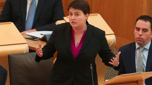 Scottish Conservative leader Ruth Davidson responding after First Minister Nicola Sturgeon addressed the Scottish parliament in Edinburgh where she announced her Scottish Government's legislative programme for the coming year.