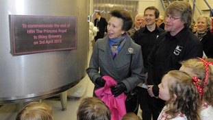 Princess Anne unveils plaque at Ilkley Brewery