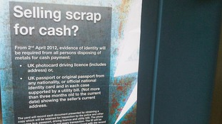 """Selling scrap for cash"" poster in Operation Tornado campaign"