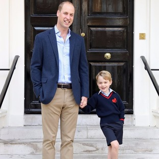 An official picture of Prince George showed him ready to go to school.