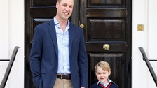 The official photo of Prince George on his first day of school released by Kensington Palace.