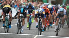 Stage four in Nottinghamshire was won by Fernando Gaviria, wearing the white helmet.