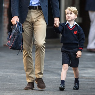 Prince George appeared nervous as he made his way into his new classroom.