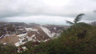 Damages houses in the US Virgin Islands.