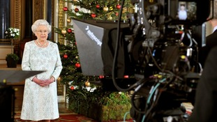 The Queen recording her Christmas message