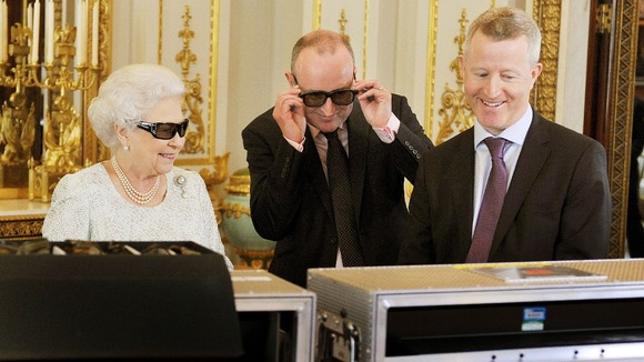The Queen with Producer John McAndrew and Director John Bennett