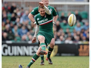 Toby Flood kicking a conversion for Tigers.
