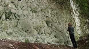 Lead author and research postgraduate Martin Suttle takes rock samples.