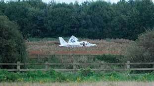 The took off this morning in bad weather and crashed in a field after the pilot decided to turn back.