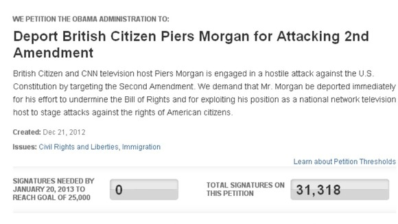 Piers Morgan deportation petition: The petition was created on the White House's e-petition website