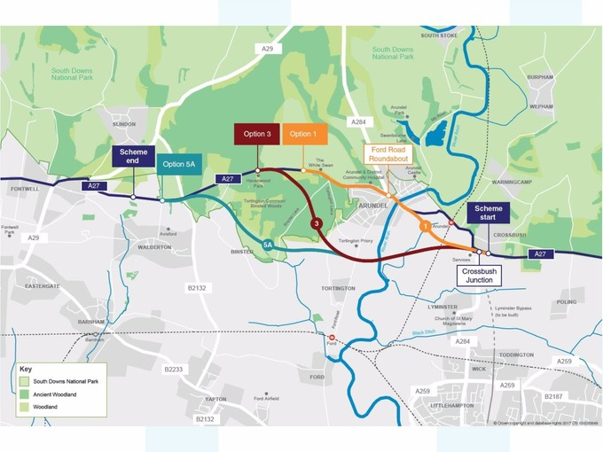 A27 bypass options would impact on ancient woodland meridian credit highways england sciox Gallery